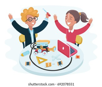 Vector cartoon illustration of smiling children sitting at laptops made a robot car standing on table. Robotics and programming for kids concept.