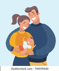 Vector cartoon illustration of smiling mother and father holding their newborn baby son. Cute family couple with child. Characters on isolated background. Close up image.