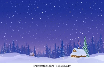 Vector cartoon illustration of a snow covered village in a forest, snowy night background