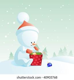 vector cartoon illustration with snowman