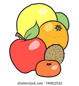 vector cartoon illustration of some fruit