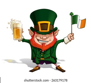 Vector Cartoon Illustration of St. Patrick cheering with a pint of beer, holding an old declaration-like papyrus.