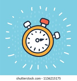 Vector cartoon illustration of stopwatch with bottons on the blue background. Modern outline concept