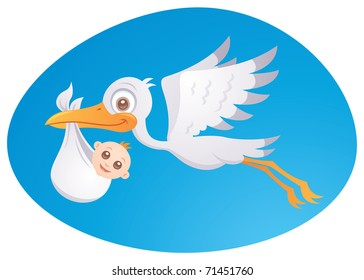 Vector cartoon illustration of a stork delivering a cute little newborn baby.