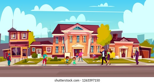 Vector cartoon illustration with street sidewalk and people on it. Children play, a couple walks outside. Cottage facades, estate block background. Landscape with asphalt road.