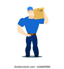 Vector cartoon illustration of a strong moving service guy loader, porter, heaver in flat design style holding a box with things on a white background EPS10