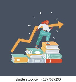 Vector cartoon illustration of Student sitting on stack of books. Studying concept on dark background.