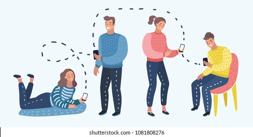 Vector cartoon illustration of Students or working Group With Smart Cell Phone Social Network Communication.