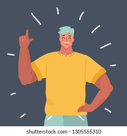 Vector cartoon illustration of Successful man character with index finger up gesture. Successful man, Smile, say some. Human character on dark background.