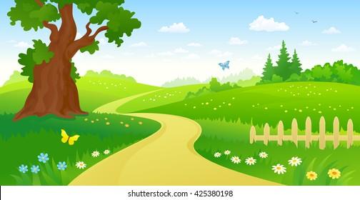 Vector cartoon illustration of a summer forest path