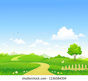 Vector cartoon illustration of a summer landscape background