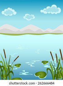 Vector cartoon illustration of summer landscape with mountains, reeds, lily, clouds, water.