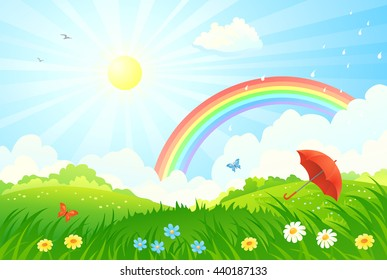 Vector cartoon illustration of a summer scenery with a rainbow after rain and an umbrella on a green meadow