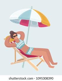 Vector cartoon illustration of summer vacation beach resort woman enjoying sun on sun lounger or deckchair with umbrella. Woman lying on deckchair. Human female character on isolated background.