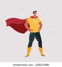 Vector cartoon illustration of Superhero character on white background.