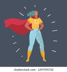 Vector cartoon illustration of Superhero Woman standing on dark background. Female strong Character in self-confident pose.