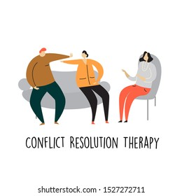Vector cartoon illustration of swearing couple sitting at psychologist appointment. Conflict resolution therapy