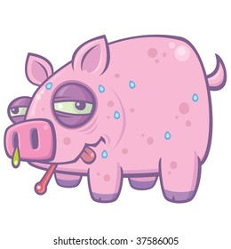 Vector cartoon illustration of a sweaty, sick pig with the Swine Flu.