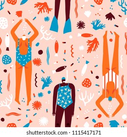 Vector cartoon illustration with swimmers in the ocean. Various of woman snorkelling under the sea seamless pattern in vector. Summer beach print collection.