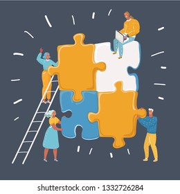 Vector cartoon illustration of Teamwork in process creating new project. Big color puzzle art work. Human characters on dark background. Team together works.
