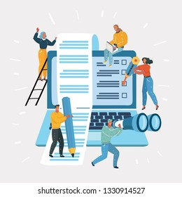 Vector cartoon illustration of teamwork. Software, web development, developing concept. People interacting with laptop, charts and analyzing statistics. Technology process, working at project.