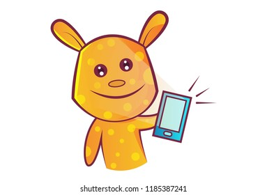 Vector cartoon illustration of teddy bear taking selfie in phone. Isolated on white background.