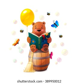 vector Cartoon illustration teddy bear reading book on wooden barrel surrounded by butterflies and bubbles. Recreation. Colorful print art. Clip art isolated on white background. EPS 10 without mesh