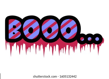 Vector cartoon illustration of text sticker. Lettering text -booo. Isolated on white background.