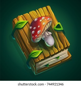 Vector cartoon illustration thick book with a wooden cover and amanita