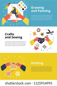 Vector cartoon illustration of three flayer set Art-working process.. Banner art lessons or school. Knitting, sewing, embroidery, drawing, painting, crafts. Blocks in different colors.