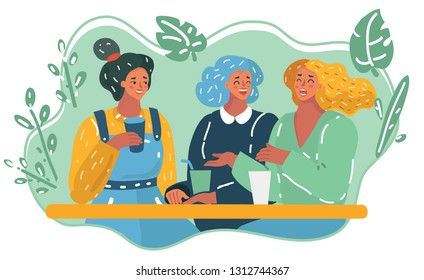 Vector cartoon illustration of three girls in cafe. Talking and laughing happy female characters. Conversation and friendship concept.