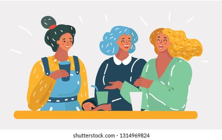 Vector cartoon illustration of three women speaking in cafe to each other. Friendship and communication concept. Female team on white isolated background.