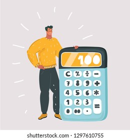 Vector cartoon illustration of tiny man standing near big calculator on white background.