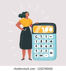 Vector cartoon illustration of tiny woman with big Calculator. Financial calculations, accountant. Accounting, bookkeeping, audit debit and credit calculations.