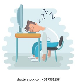 Vector cartoon illustration of tired employee sleeping at workplace on laptop keyboard