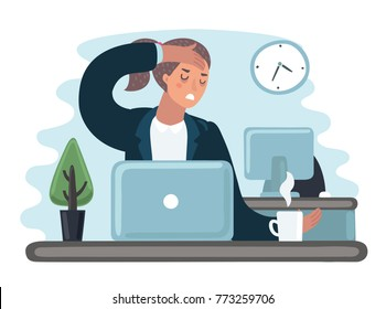 Vector cartoon illustration of tired sad busy office worker woman character. Girl work at the laptop feeling bad. Hold her had. Headache sick, flu, exhausted, stressed, depression