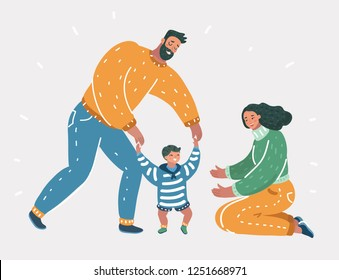 Vector cartoon illustration of Toddler boy try to walking with mother and father help. First step. Human character on white background.