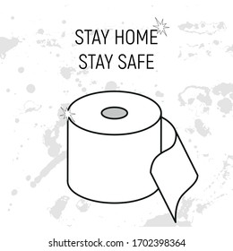 Vector cartoon illustration of toilet paper for poster, post, graphic design, banner, meme. Joke and fun for quarantine. Pandemic, pandemia, coronavirus, covid. Stay at home