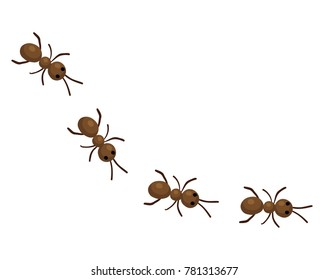 Vector cartoon illustration of a trail of brown ants in line isolated against a white background