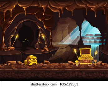 Vector cartoon illustration of the treasure cave with a waterfall and chest. Screen to the computer game Shadowy forest GUI. Background image to create buttons, banners, graphics.