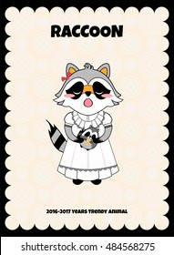 Vector cartoon illustration. Trendy animal raccoon girl stamp print, greeting card, post card or post stamp, cute sticker for diary, notebook or album. Black, grey, blue, red colors