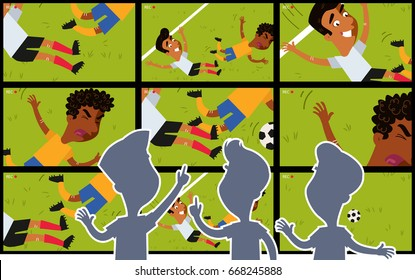 Vector cartoon illustration of TV screens showing video replay of foul on football field with silhouettes of referees watching
