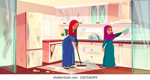 Vector cartoon illustration with two Arabian ladies clean kitchen. Dirty place with spots, cleaning by housemaids, servants. Slaves wash house, mopping in cookroom. Mother and daughter as housekeepers