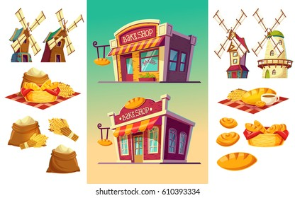 Vector cartoon illustration of two bakeries with various facades and signboards, a set of icons for a bakery freshly baked bread, wheat ears, flour bags, windmills