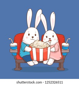Vector cartoon illustration with two cute bunnies sitting in the cinema, eating popcorn isolated on background