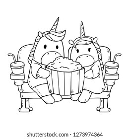 Vector cartoon illustration with two cute unicorn horses sitting in the cinema, eating popcorn isolated on background