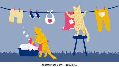 a vector cartoon illustration of two funny cats washing laundry and hanging baby clothes on a clothesline