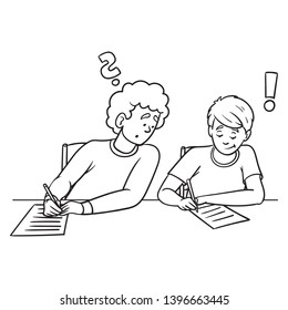 Vector cartoon illustration of two guys sitting next to each other at a school test. one looks new-wise and writes with his neighbor. black white, outline, test, exam, isolated.