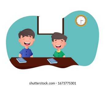 Vector cartoon illustration of two happy boy sitting in classroom. Isolated on white background.