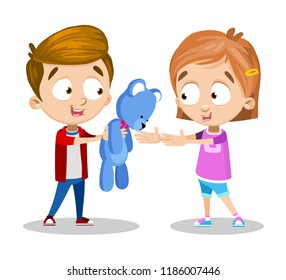 Vector cartoon illustration of two little kids sharing toys. Boy is giving his teddy bear to girl. Isolated on white background